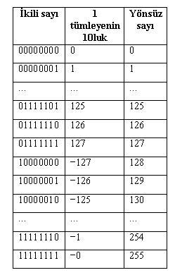 bir tümlyeni ve karşılığı onluk sayı