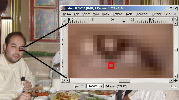 bir imgecik (piksel, pixel) yakınlaştırması